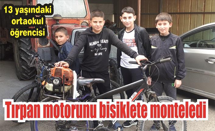 Tırpan moturunu bisiklete monte etti