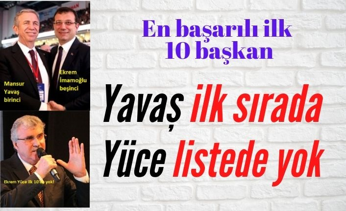En başarılı belediye başkanları anketinde ilk on… Mansur Yavaş, %74'le ilk sırada, Ekrem Yüce listede yok