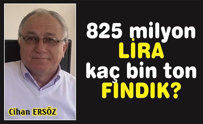 825 milyon lira kaç bin ton fındık