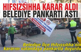 Belediye uyarısını pankartla yaptı