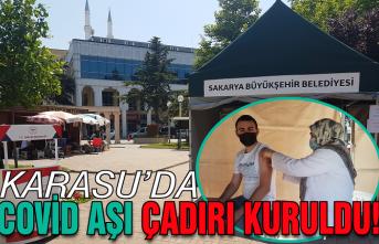 Karasu'da mobil aşı çadırı kuruldu