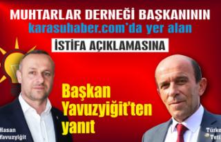 Başkan Yavuzyiğit'ten bugün yanıt geldi