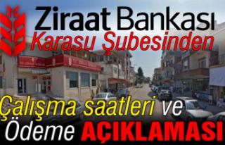 Ziraat Bankası Karasu'dan işlem ve ödeme açıklaması!